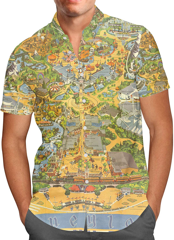 New York City Map USA Men/'s Short Sleeve Button Shirt Size XS-3XL