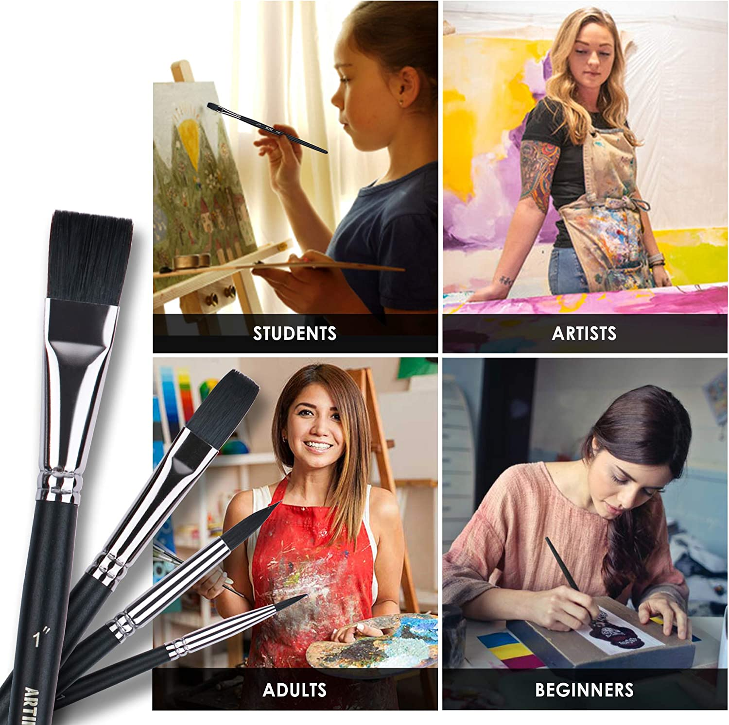 Beginner and Artist ARTIFY 12 pcs Watercolor Painting Brush Set Nylon Hair Paint Brushes for Oil Painting Acrylic Painting for Kids and Adults Black Figger Round Flat Cats Tongue Shape
