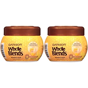 Garnier Whole Blends Honey Treasures Repairing Hair Mask for Dry Damaged Hair, 10.1 Fl Oz (Pack of 2)