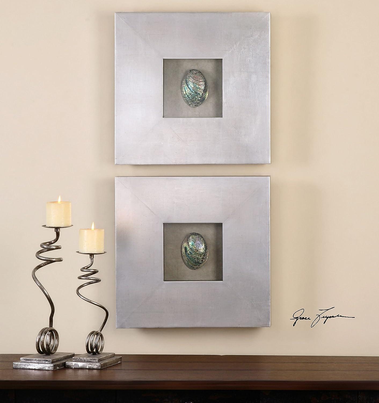 Amazon.com: Framed Seashells Wall Art Iridescent Colorful | Abalone  Shadowbox: Home U0026 Kitchen