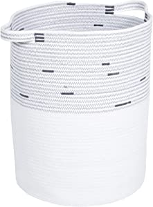"Modicum | Extra Large Woven Storage Basket - 20"" x 15"" - Cotton Rope Decorative Basket, Laundry Hamper, Blanket Basket, Nursery, Toys, Linens, Pillows (White)"