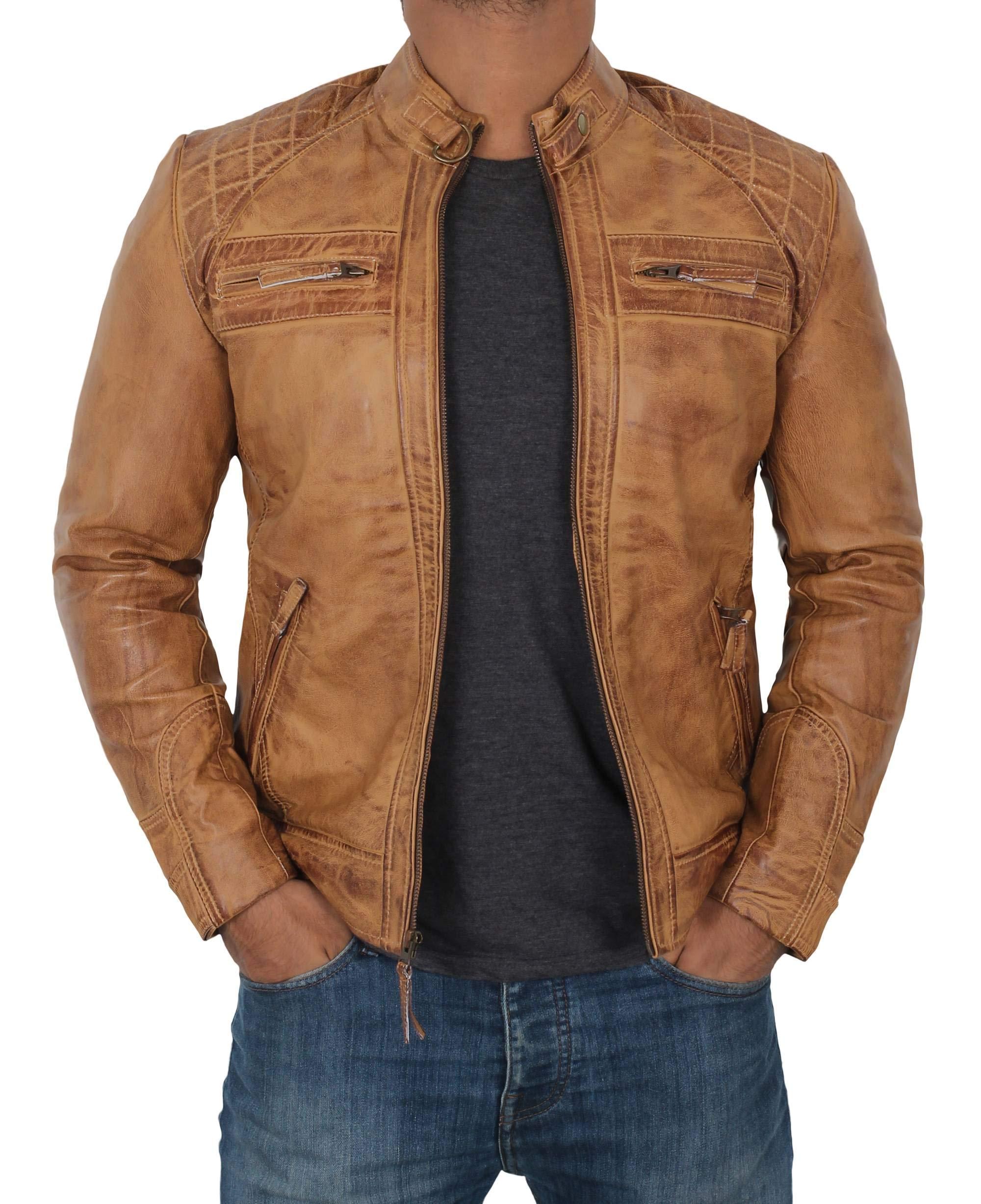 Decrum Mens Leather Jacket - Brown Jackets for Men | [1103174] D1 Camel, L by Decrum