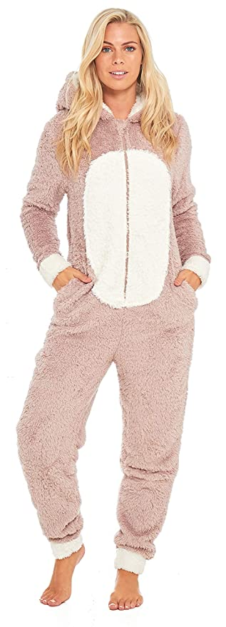 a72cfe6e2e Slumber Hut® Pug Dog Fleece Onesie for Ladies - Novelty Animal Face Hooded  Womens All in One Snuggle ...
