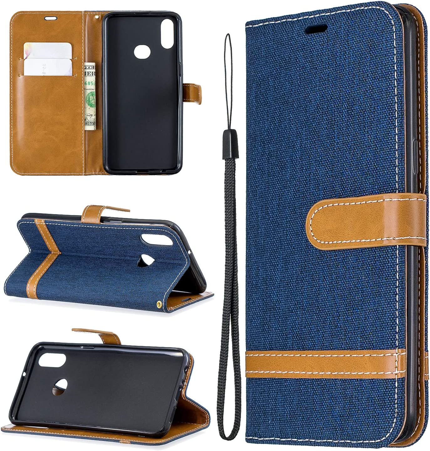 NEXCURIO Wallet Case for Galaxy A10S with Card Holder Side Pocket Kickstand NEBFE020298 Sapphire Shockproof Leather Flip Cover Case for Samsung Galaxy A10S