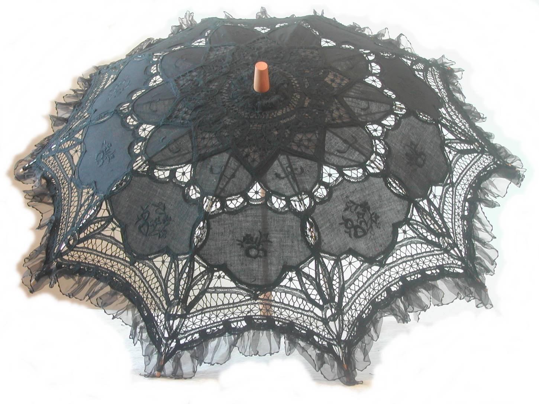 Black Embroidered Lace Parasol W/organza Lace Trim