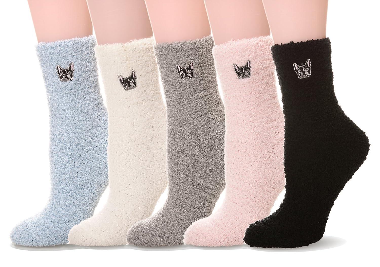 Damen Socken Soft Microfiber Fuzzy Sock Warme Hosiery 5 Paar Wintersocken JOYORUN SA09WZ014601