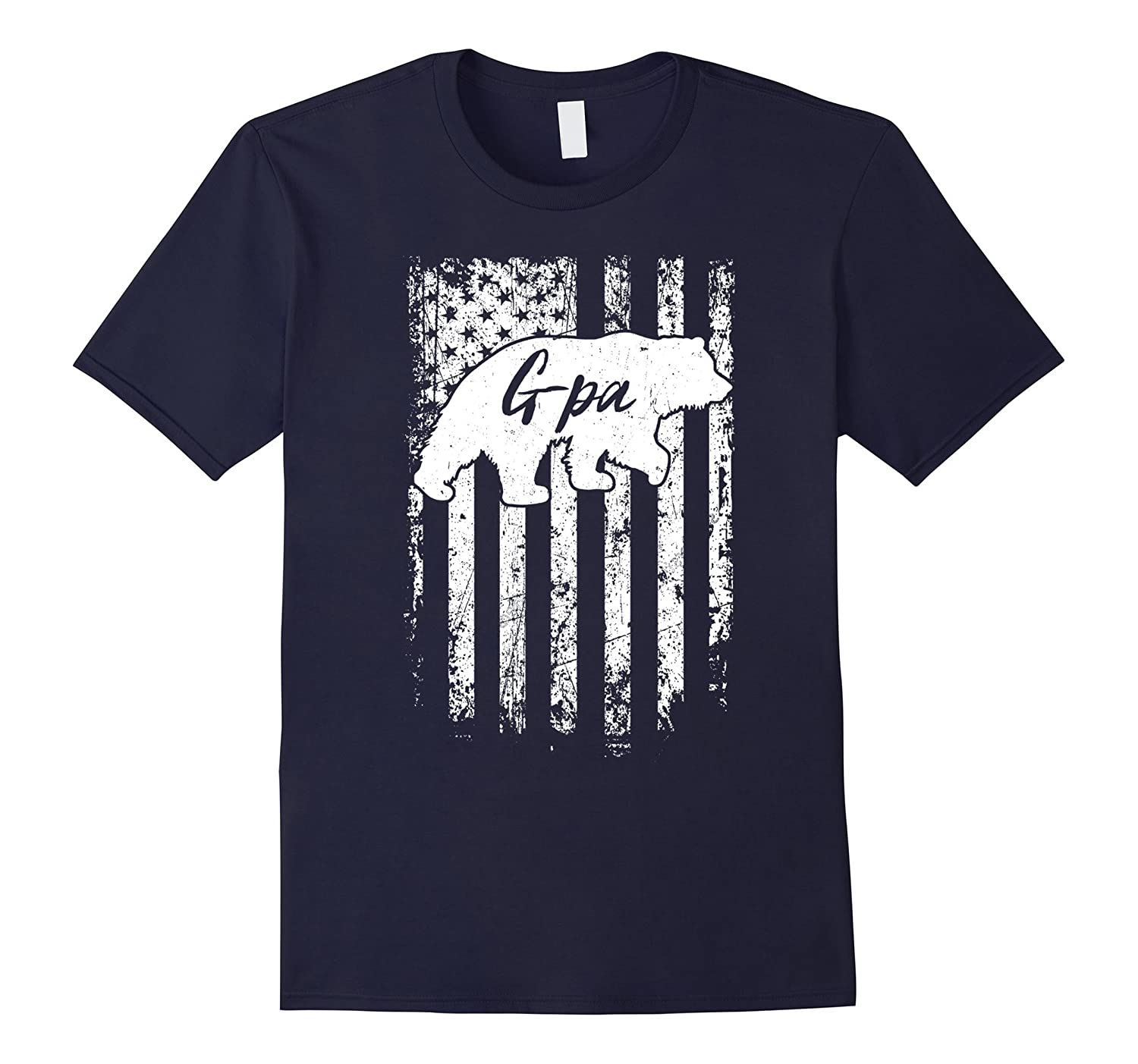 Mens American G-pa Bear Flag T-Shirt Gifts for G-pa-TH