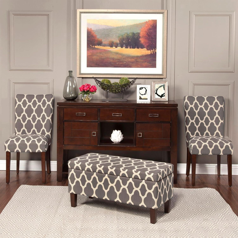 HomePop Large Upholstered Rectangular Storage Ottoman Bench with Hinged Lid Slate Damask Kinfine K6384NP-A750