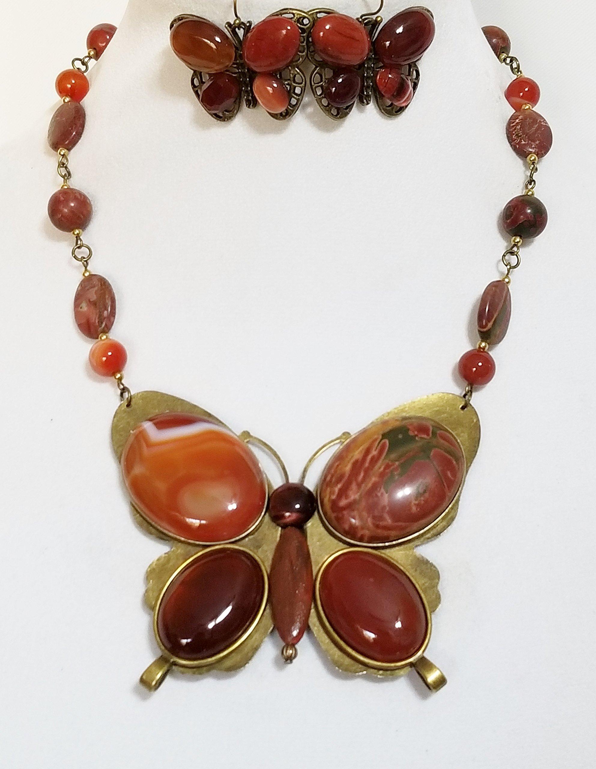 Claire Kern Creations Gemstone Jasper Agate Big Butterfly Necklace Earrings