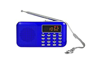 Portable Am Fm Radio Mp3 Music Player Speaker Support Micro Sd/TF Card with LED Screen Display (Blue)