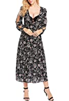 Zeagoo Women's Deep V Neck Long Sleeve Backless Floral Boho Vintage Party Maxi Dress