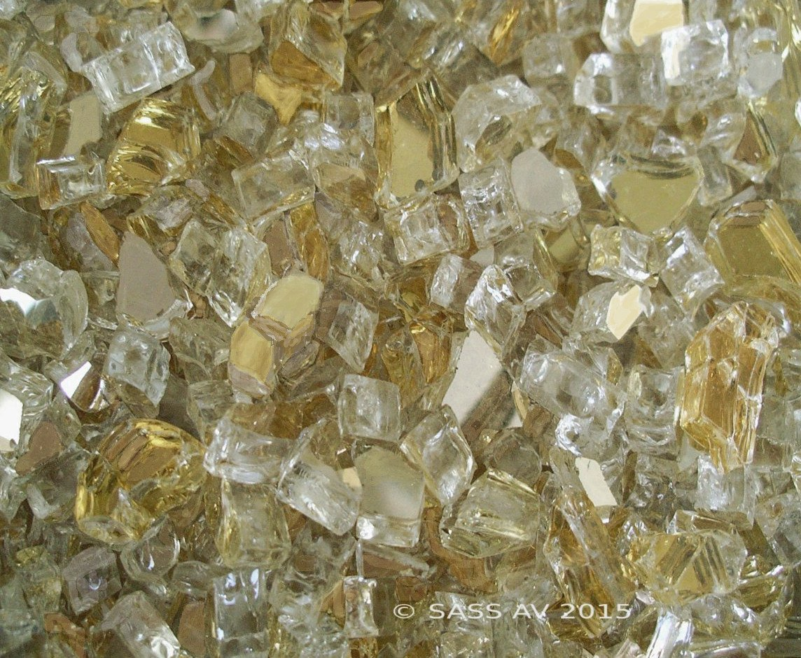 Gold Reflective ~1/4'' Crystal Fireglass Fireplace Fire Pit Glass, 40 LBS