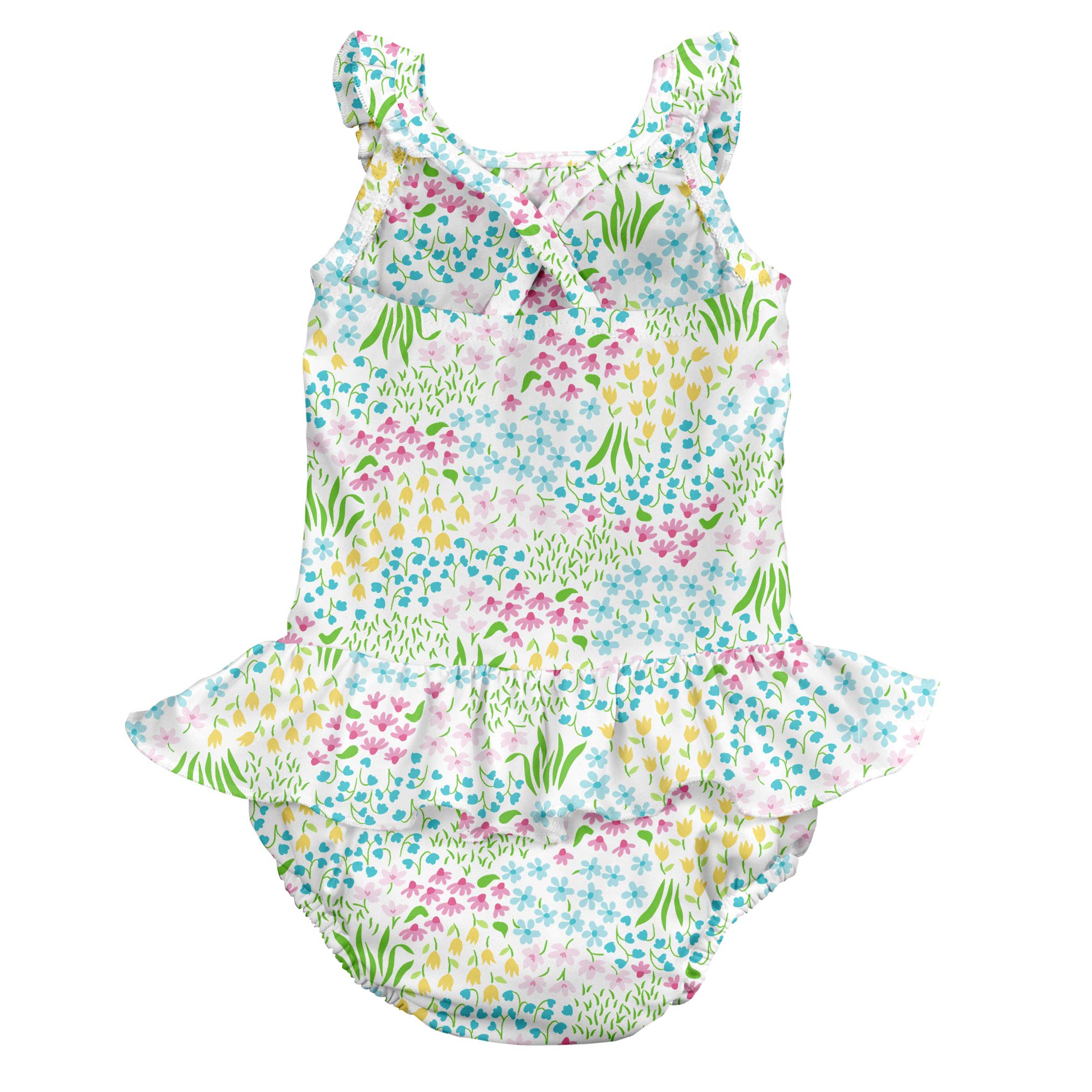 i play. Baby Girls 1pc Ruffle Swimsuit with Built-in Reusable Absorbent Swim Diaper, White Flower Patch, 6mo by i play. (Image #2)