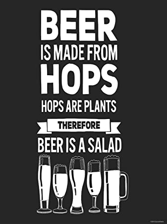 Good BEER IS SALAD (18X24in) Funny Poster For College Dorm Room By SourceSheets Part 19