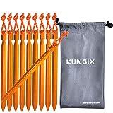 Kungix テントペグ軽量ジュラルミン製10本収納袋付きアウトドア用品 キャンプ用品ペグ
