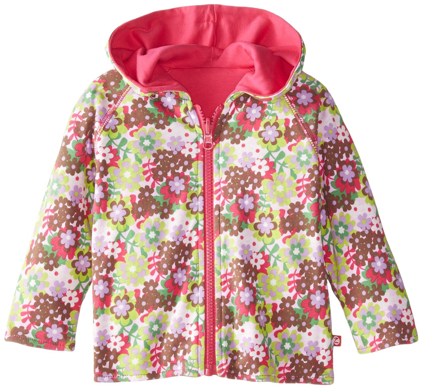 Zutano Baby Girls' Primrose Reversible Zip Hoodie, Pink, 18 Months by Zutano