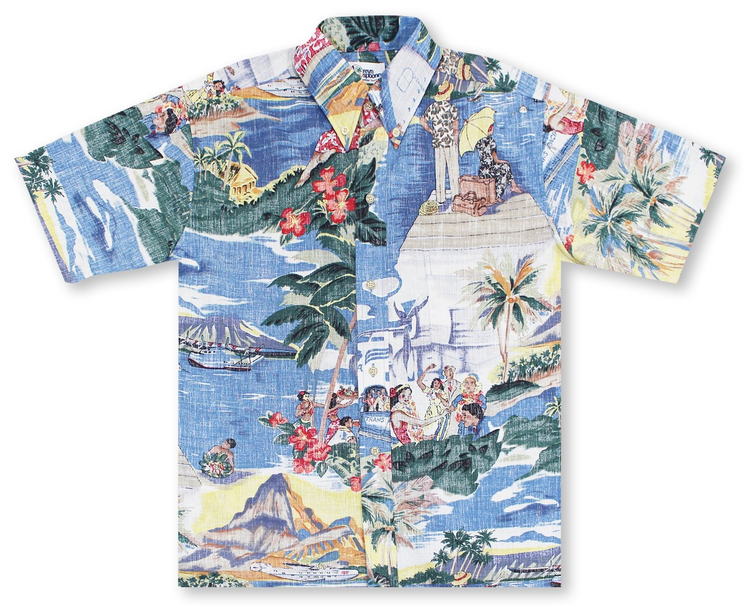 Reyn Spooner Men's Spooner Kloth Classic Fit Button Front Hawaiian Shirt Transpac, Scenic Transpac 40's, 3XL
