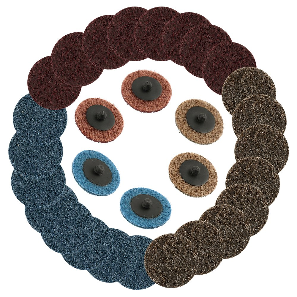 30pcs 2 inch Sanding Disc Quick Change R-Type Surface Conditioning Discs Fine Medium Coarse Grit Roll Lock Sanding Disc for Die Grinder Surface Rust Paint Librao