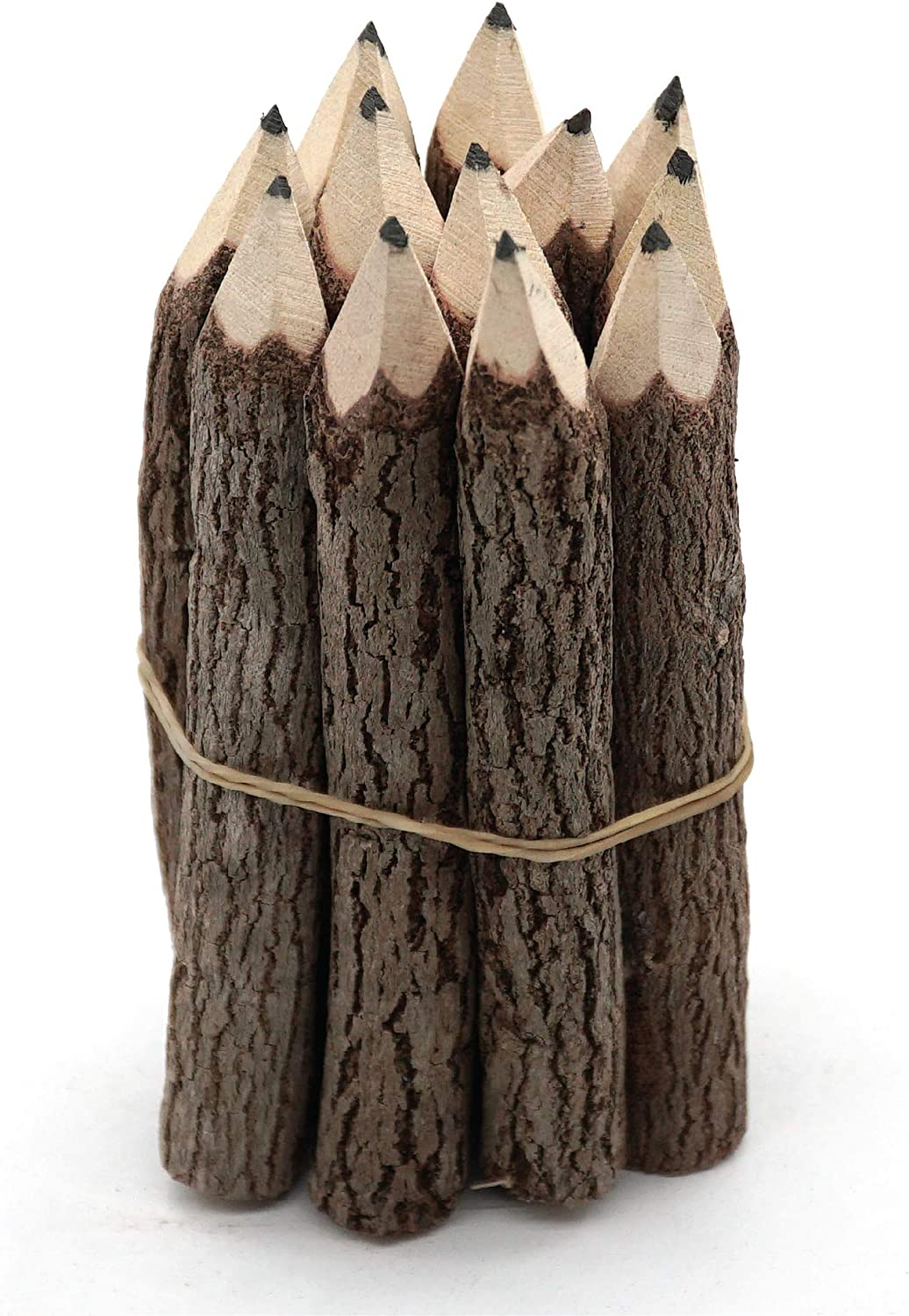 Black 3 Inch Mini Pencils Wood of 12 in Pack Tree Bark Favors in Wooden Rustic Twig Pencils Unique Camping Gifts Lumberjack Decorations Party Supplies Novelty Gifts as Natural Pencil for Kids