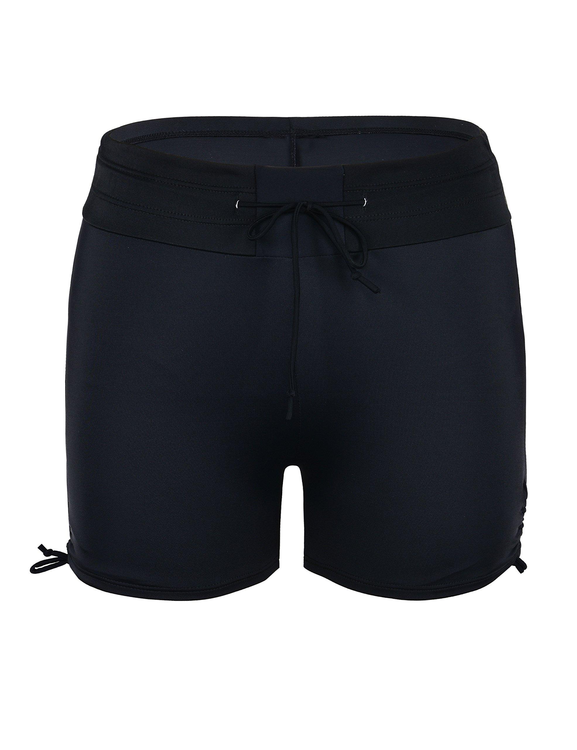 Septangle Womens Black Swim Sports Board Shorts Bottom with Side Ties,US 14