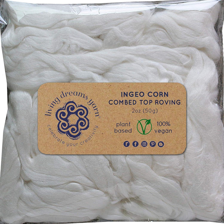 Egyptian Cotton Fiber for Spinning Blending Dyeing. Soft White Vegan Combed Top Living Dreams Yarn GBFibVegCotton