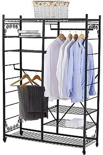 Perchero con estantes de ropa Clásico Ropero de metal con ...