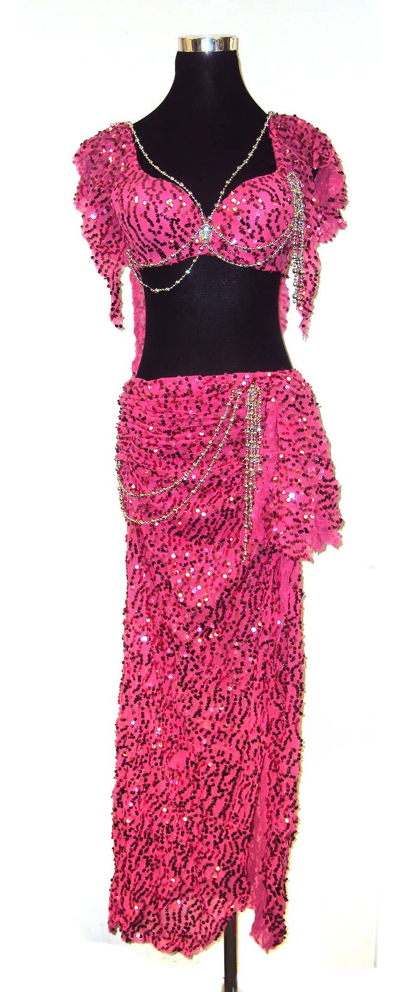 Belly Dancer Glitter Bra Top & Hip Belt Skirt Harem Costume Set --Pink 34 A,B by Belly Dance Costume