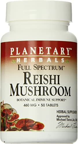 Planetary Herbals Full Spectrum Reishi Mushroom Tablets, 460 mg, 50 Count