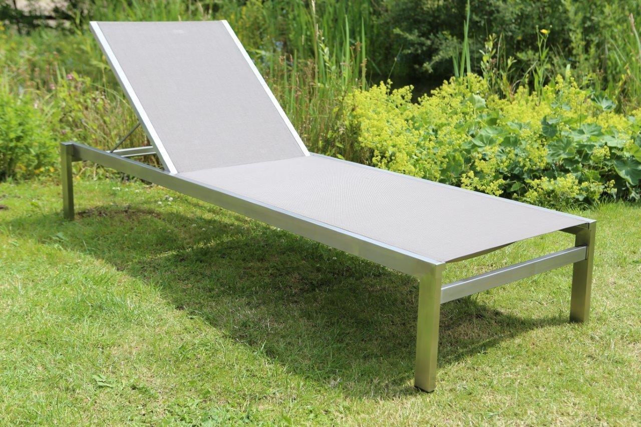 Destiny Liege MACAO Edelstahl Textilene Komfortliege Relaxliege Gartenliege