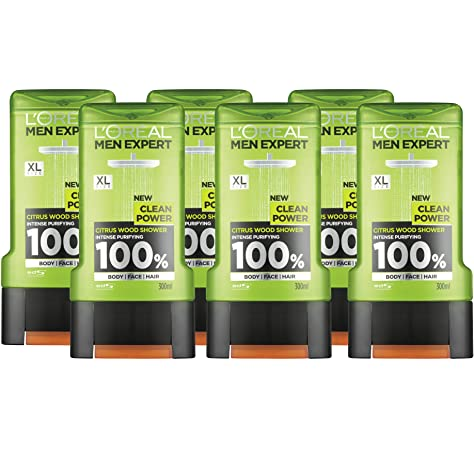 L Oreal Men Expert Clean Power Gel de ducha 300 ml Pack de 6: Amazon.es: Belleza