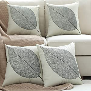 Pack 4, Linen Leaf Throw Pillow Covers Set Cushion Case for Sofa Bedroom Car,18x18 Inch,Beige