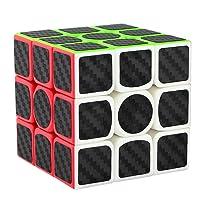 didisky Cubo Rubik 3x3, Adesivo in Fibra di Carbonio, Versione Migliorata, 5.7cm (Nero) [ 1 Pezzi ]