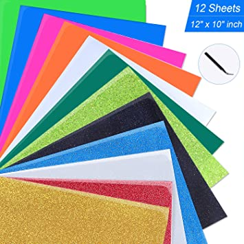 12x 10 Sheets 9 Assorted Colors JANDJPACKAGING Glitter Heat Transfer Vinyl for T-Shirts,15 Pack Starter Iron On Vinyl HTV Bundle for Cricut and Silhouette Cameo