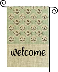 Valever Cat Welcome Garden Flag, Double Sided Fall Garden Flag for Outside 12 x 18 Inches