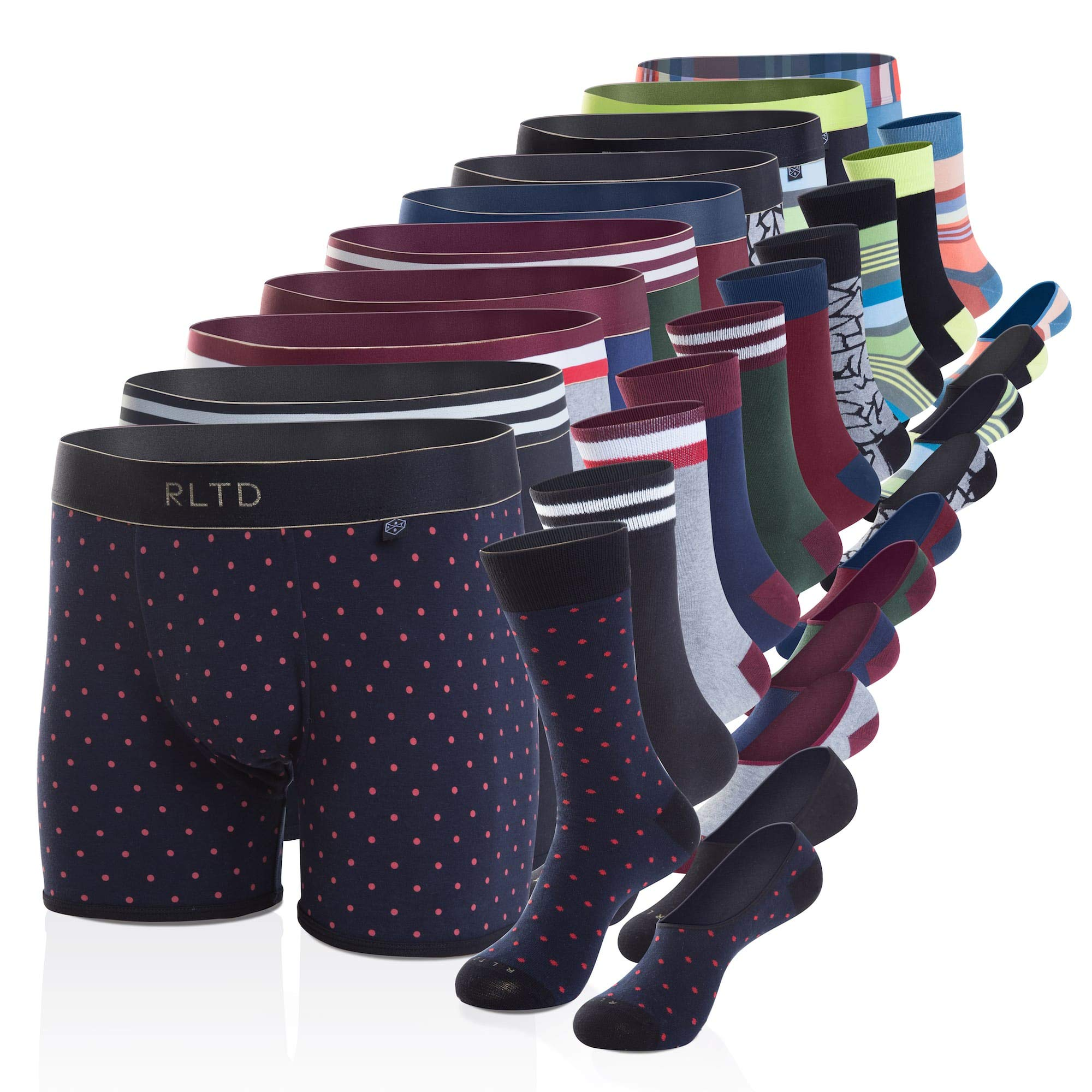 Related Garments Men's Matching Socks, No-Show Socks and Boxer Briefs: The Long Week 30 Piece Set LG