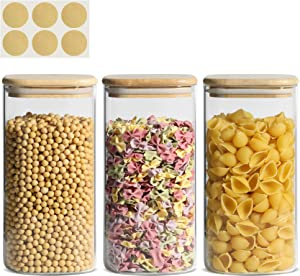 KTMAMA Airtight Glass Storage Canister with Lid (50oz), Clear Food Storage Container Jar with Sealing Bamboo Lid for Noodles Flour Cereal Rice Sugar Tea Coffee Beans, Square Set of 3