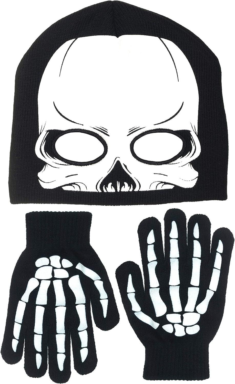 Polar Wear Boy's Skeleton Knit Beanie with Eye Holes & Glove Set (Black-White): Clothing