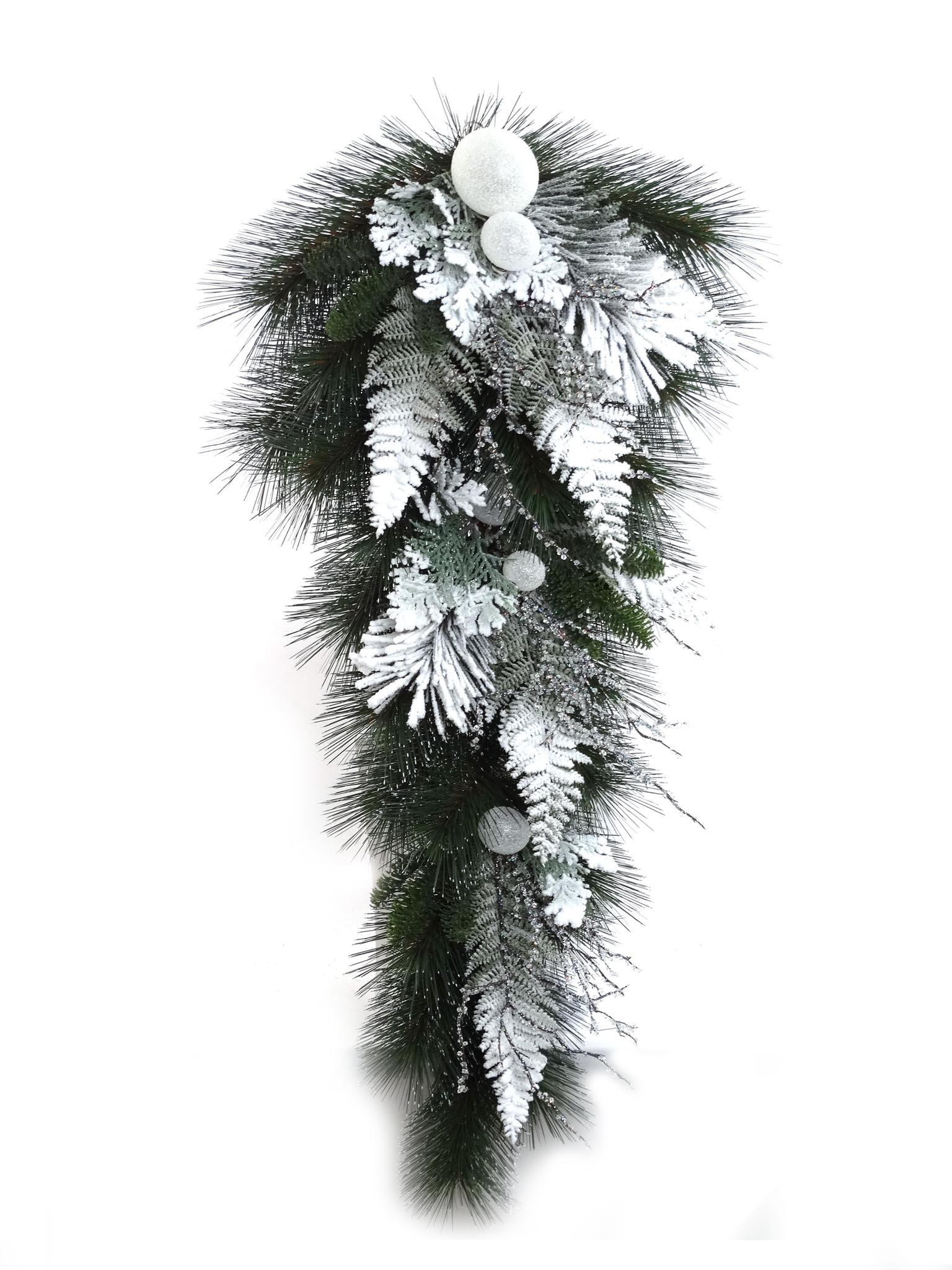 Larksilk 32'' Artificial Snow Ball Pine Teardrop Swag