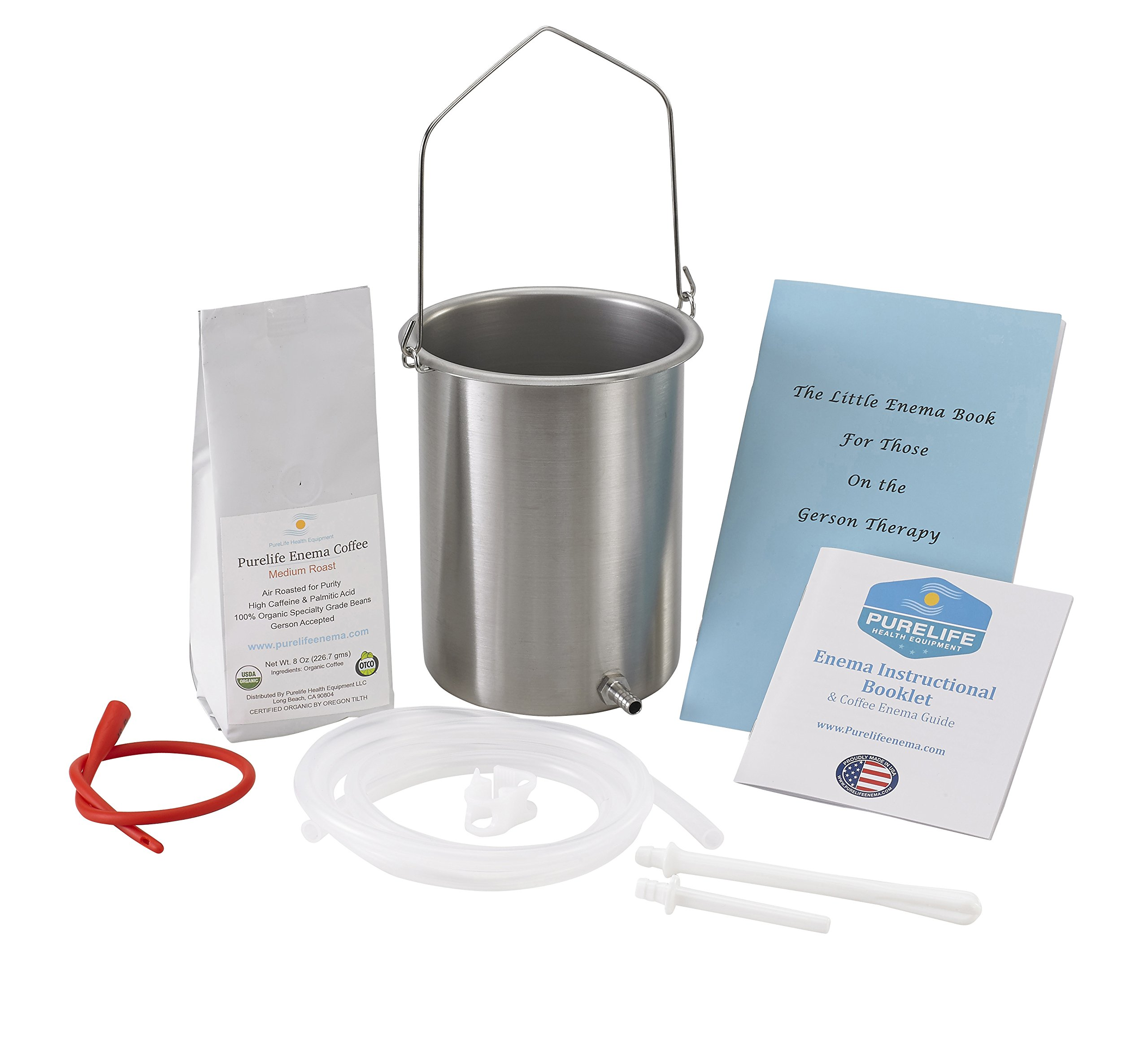 PureLife Coffee Enema Kit / Made in USA/ 304 Food Grade Stainless Steel Enema Bucket/ Medical Grade Silicone Tubing/ 1/2 Lb Organic Air Roasted Coffee/ Doctors #1 Choice