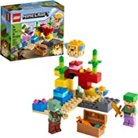 LEGO Minecraft The Coral Reef 21164 Hands-on Minecraft Marine Toy Featuring Alex, a Drowned and 2 Cool Puffer Fish, New…