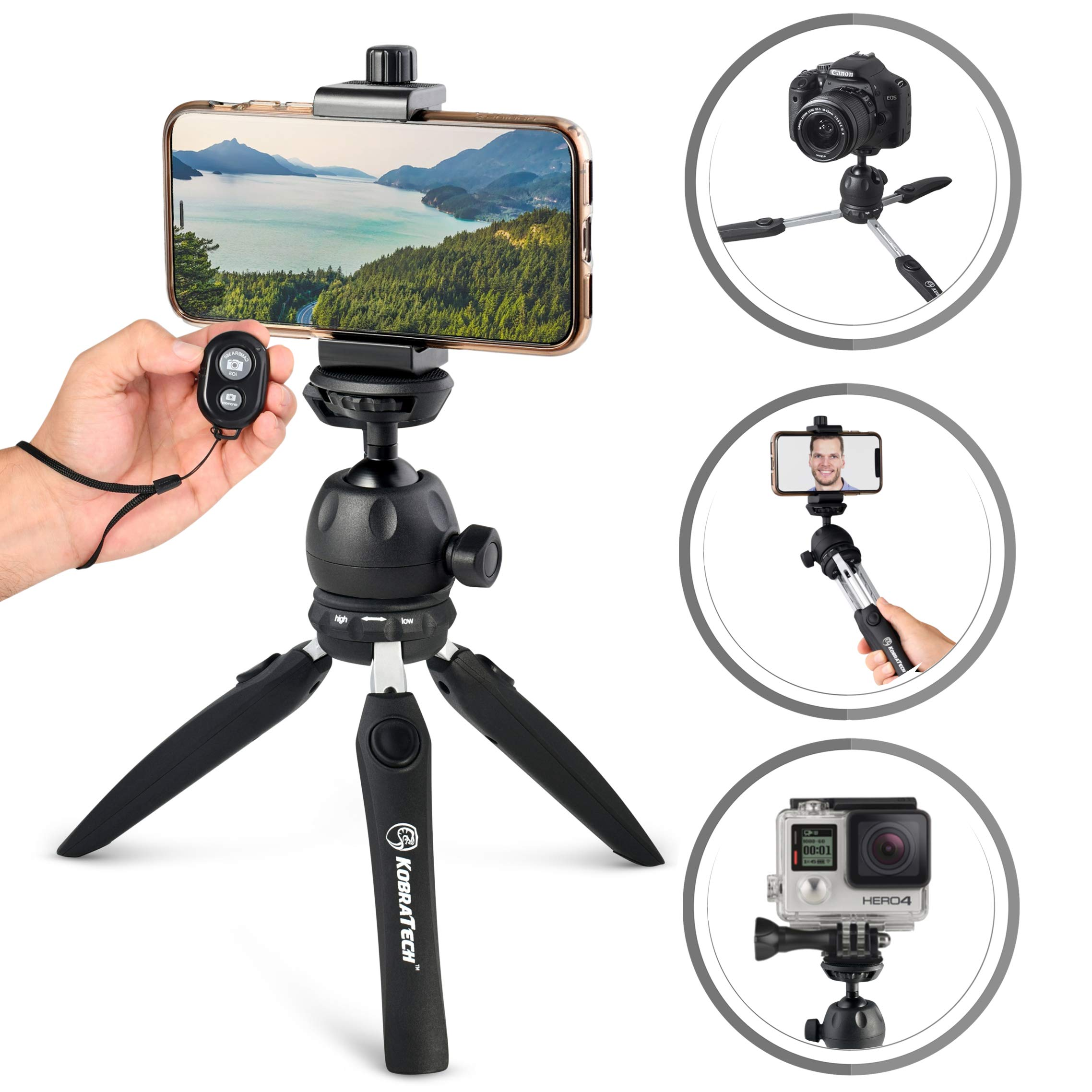 KobraTech Cell Phone Tripod for Phone & Cameras | The VersaPod Mini Tripod - Extendable Legs, Ball Head & Bluetooth Remote by KobraTech