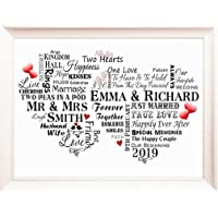 """Wedding Gift Personalised with Names, Word Art Gift for Bride and Groom, Typography Poster, Wedding Card, Photo 7"""" x 5"""" / 10"""" x 8"""" / A4 / A5 P215"""