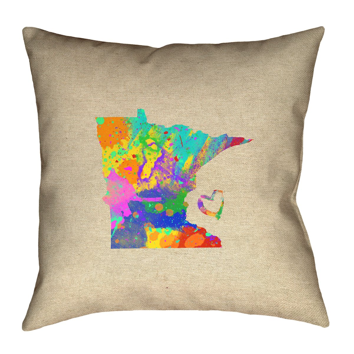 ArtVerse Katelyn Smith 16 x 16 Spun Polyester Double Sided Print with Concealed Zipper /& Insert Minnesota Love Watercolor Pillow