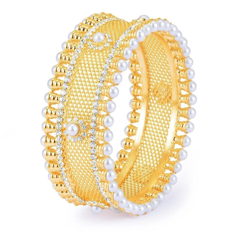 Efulgenz Indian Bollywood Traditional Ethnic 18 K Gold Plated White Cubic Zirconia Faux Rhinestone Studded Filigree Style Bracelets Bangle Set Wedding Jewelry For Women