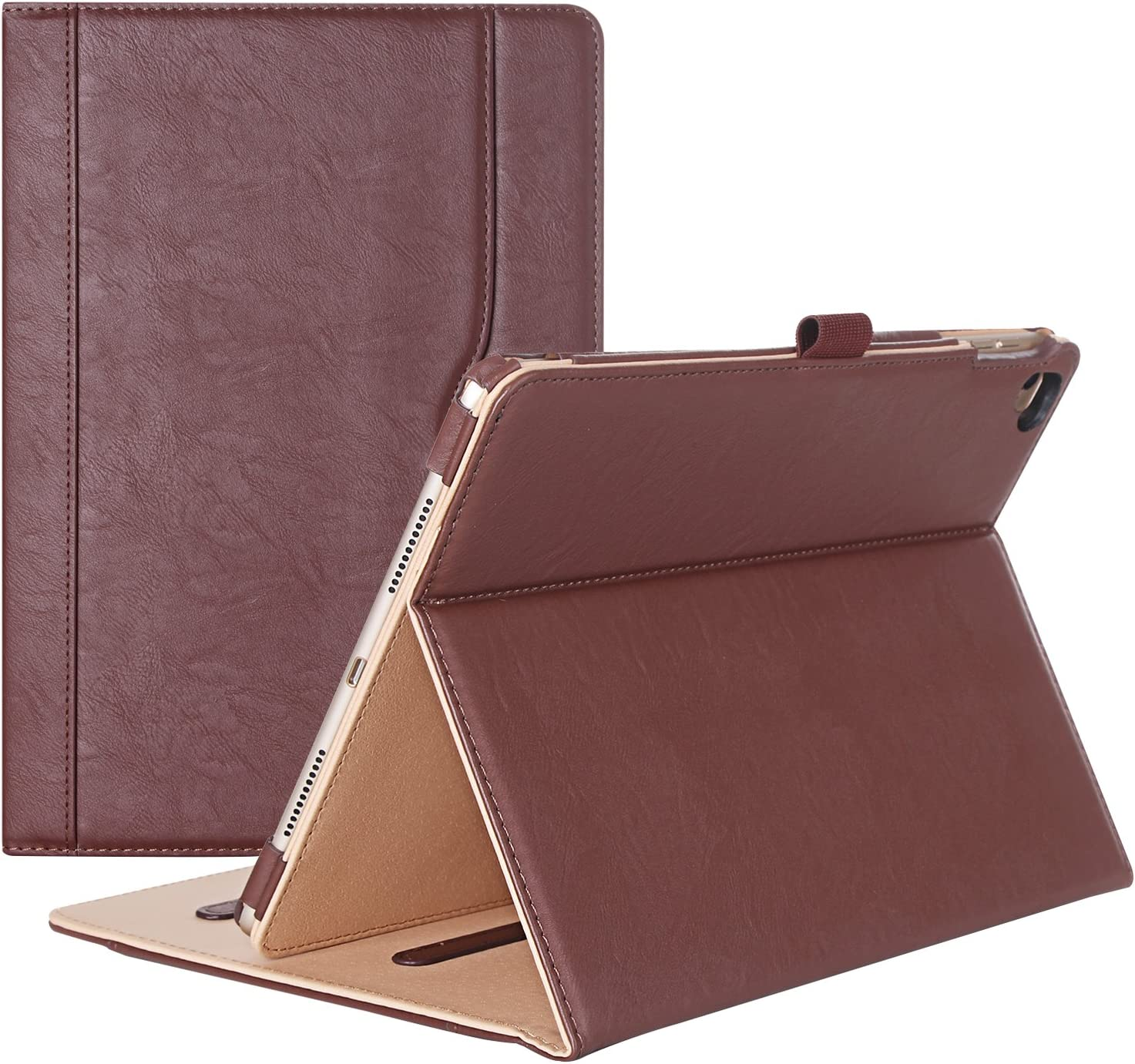 iPad Pro 9.7 Case - ProCase Stand Folio Case Cover for Apple iPad Pro 9.7 Inch 2016, with Multiple Viewing Angles, Document Card Pocket -Brown