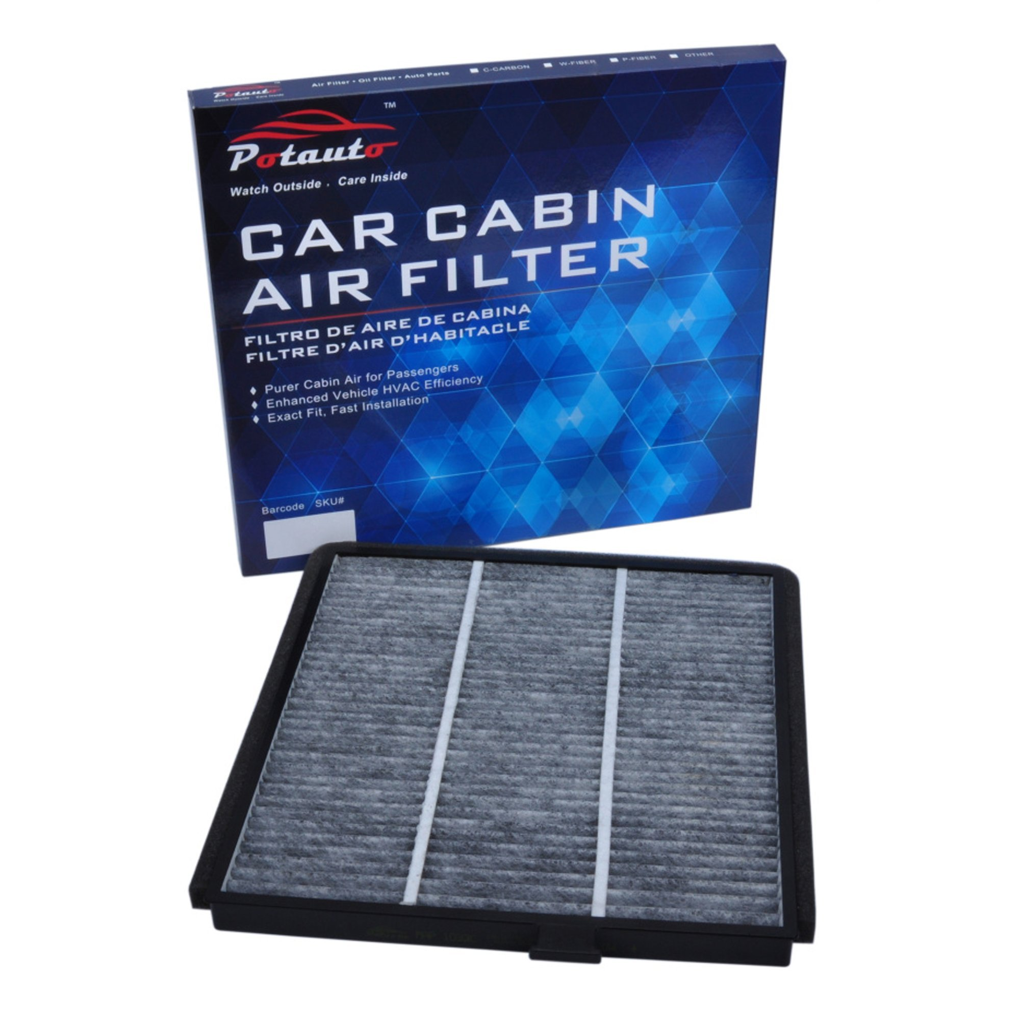 POTAUTO MAP 1032C Heavy Activated Carbon Car Cabin Air Filter Replacement compatible with ACURA, MDX, HONDA, Odyssey, Pilot (Upgraded with Active Carbon)