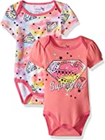 Warner Brothers Baby Girls' Superbaby Girl 2 Pack Bodysuit Layette Set