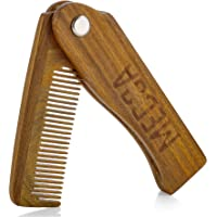 Folding Wooden Comb - 100% Solid Beech Wood - Fine Tooth Pocket Sized Beard, Mustache, Head Hair Brush Combs for Men…