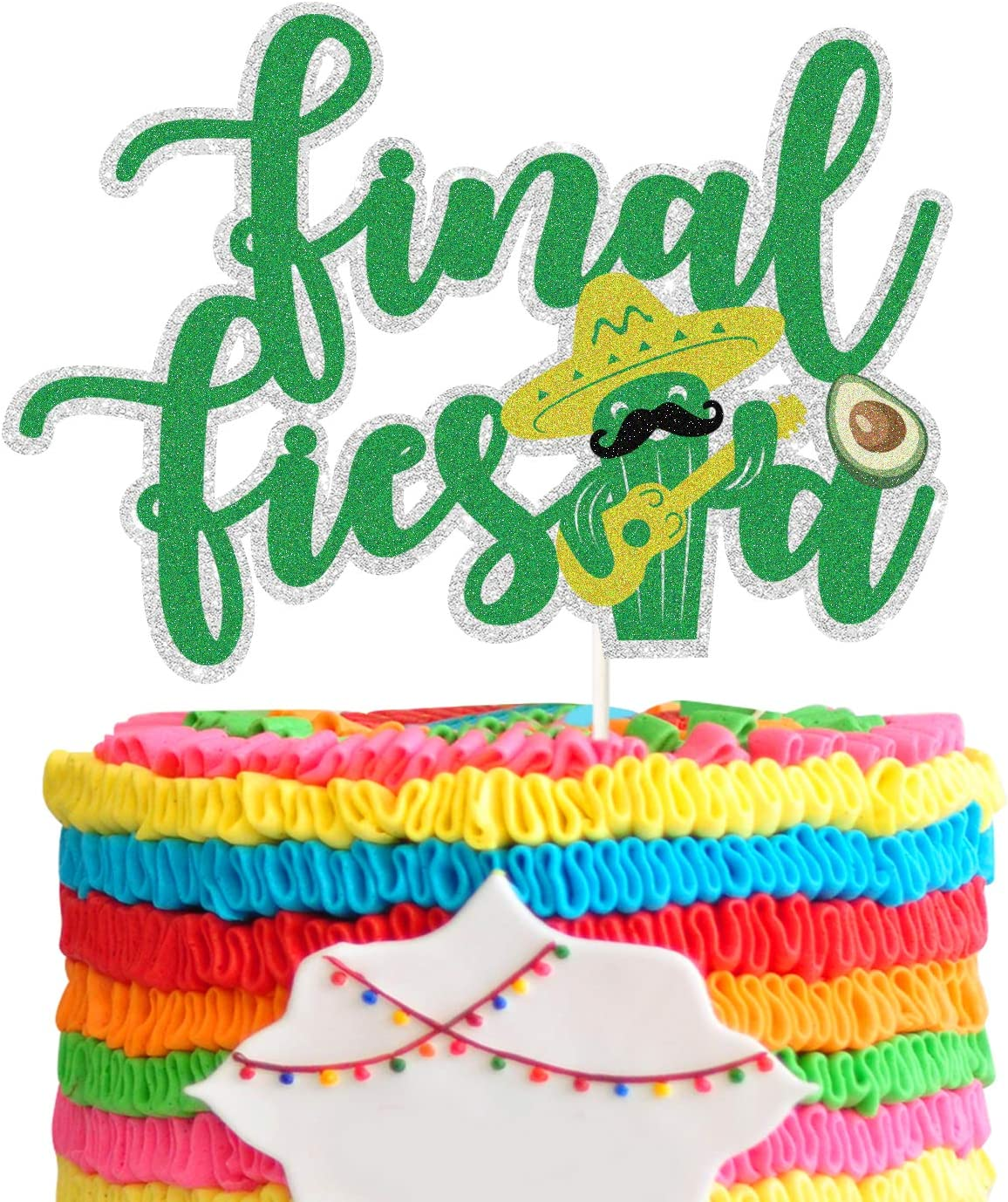 Final Fiesta Cake Topper , Green Double Side Glitter Cactus Cake Decor, Final Fiesta Future Mrs Bachelorette Party Cake Decoration,Bachelorette Party Supplies.