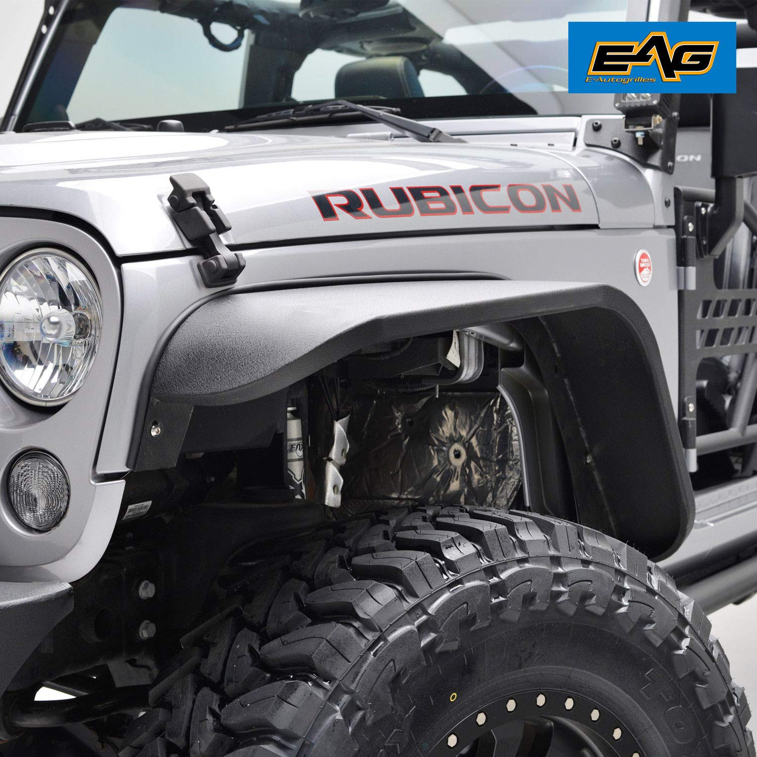 EAG Front Fender Flares Steel 2PCS Fit for 07-18 Jeep Wrangler JK